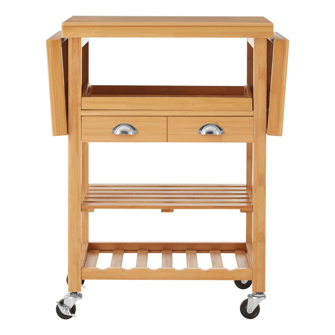 bamboo kitchen trolley two sideboards two shelves