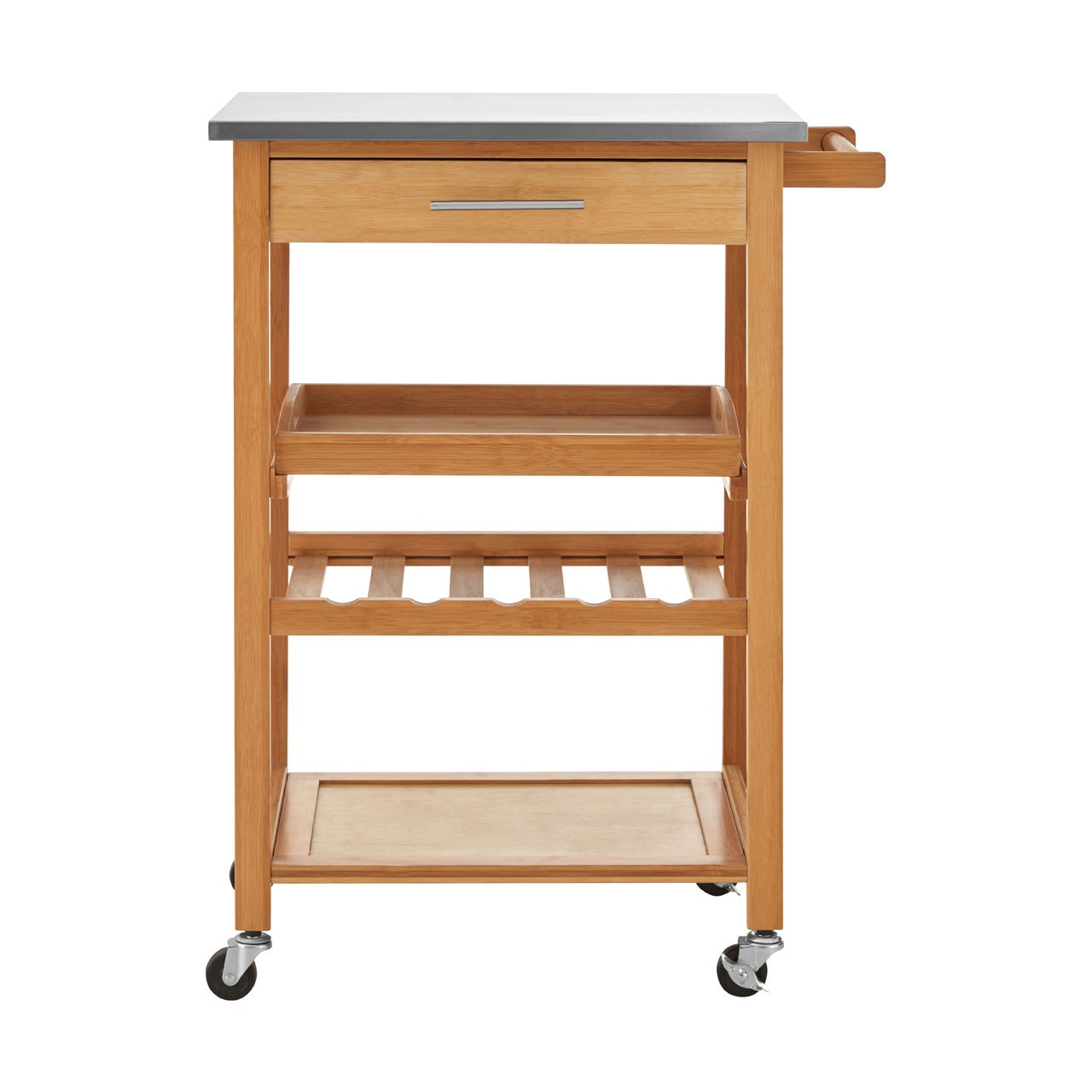 bamboo kitchen trolley boasts multiple tiers of shelving