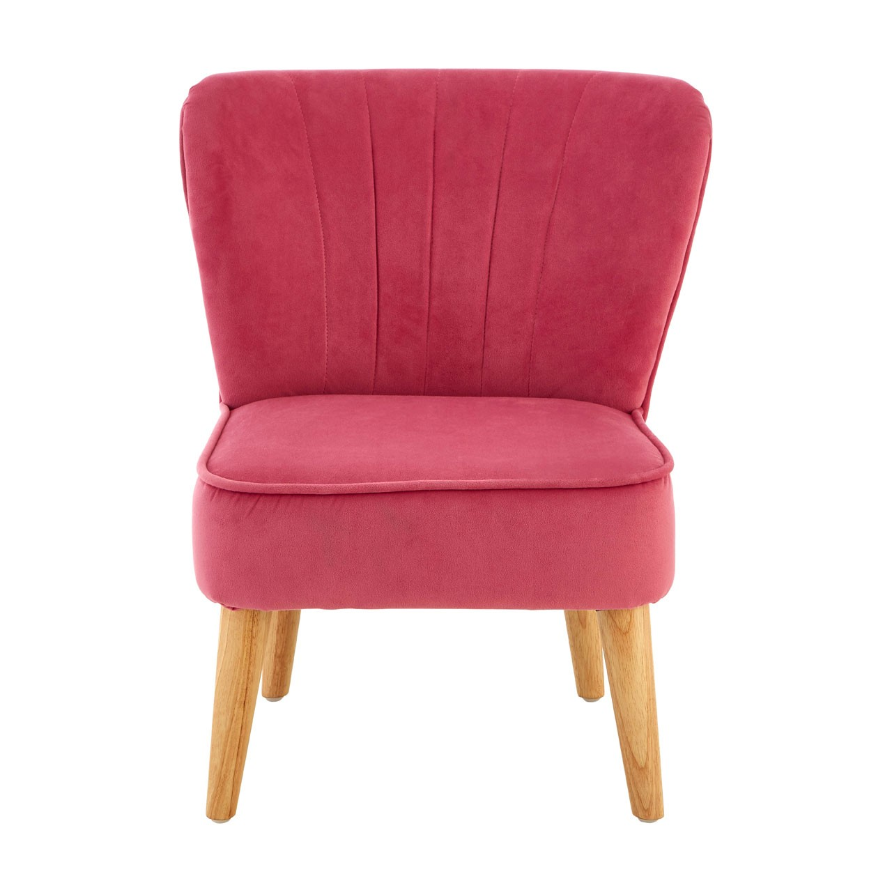 Mia Kids Chair, Pink Velvet, Natural Wood Legs