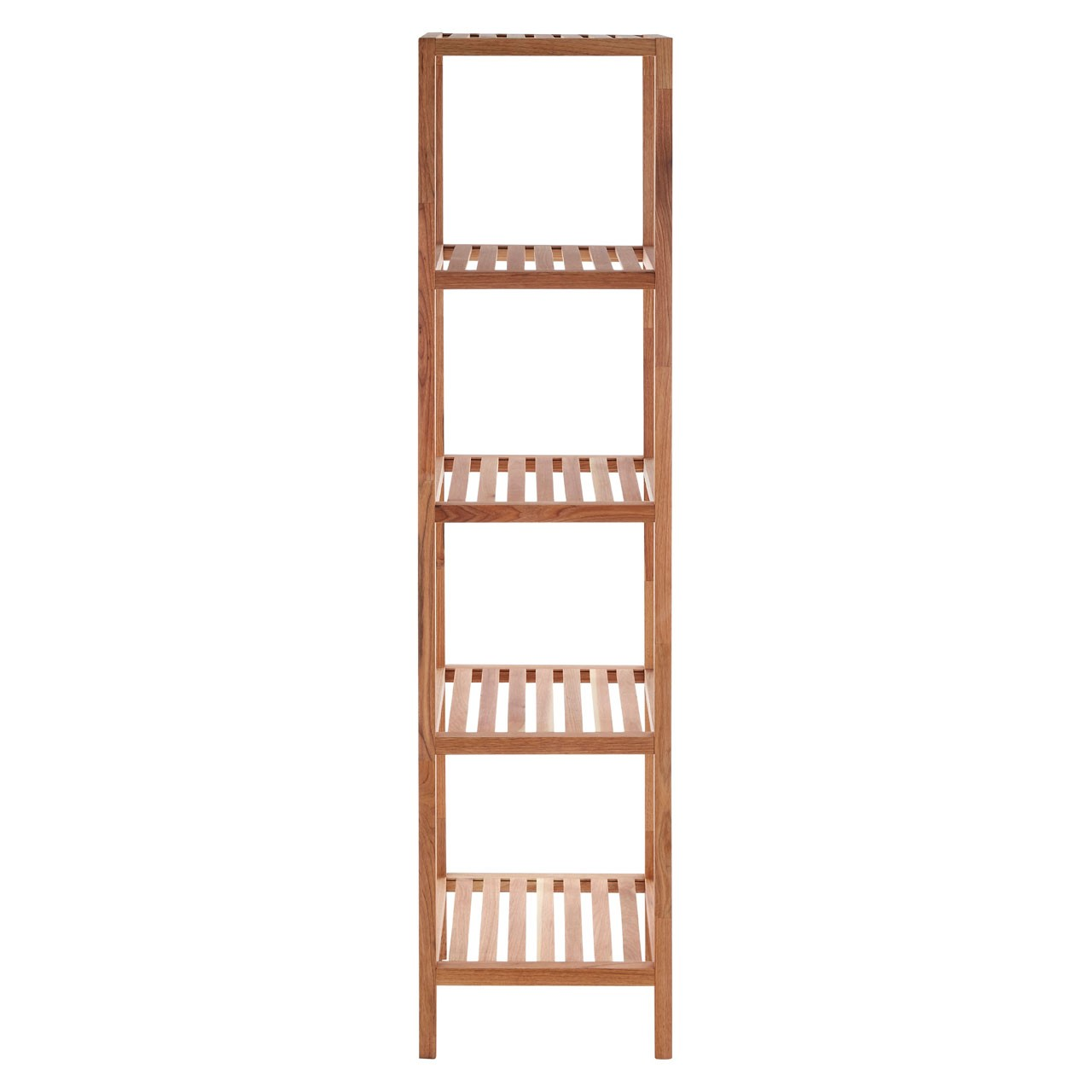5 Tier Walnut Wood Bathroom Shelf Unit