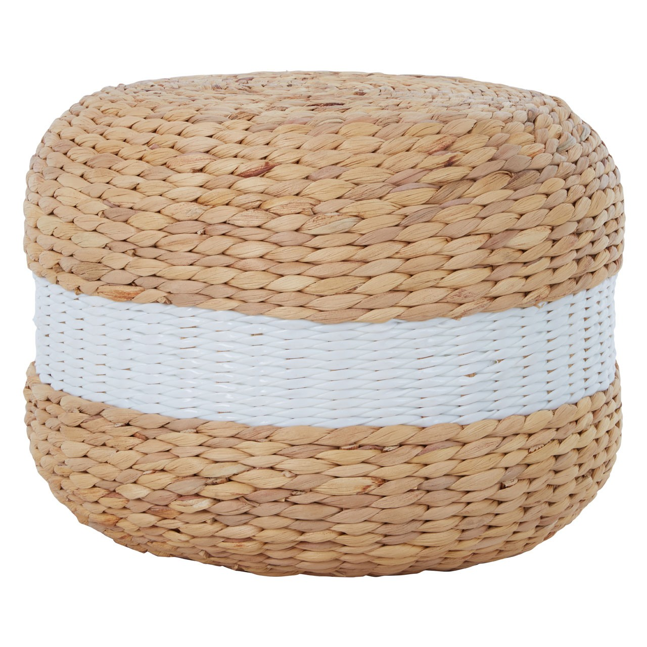 Ashby Seagrass Pouffe With White Stripe
