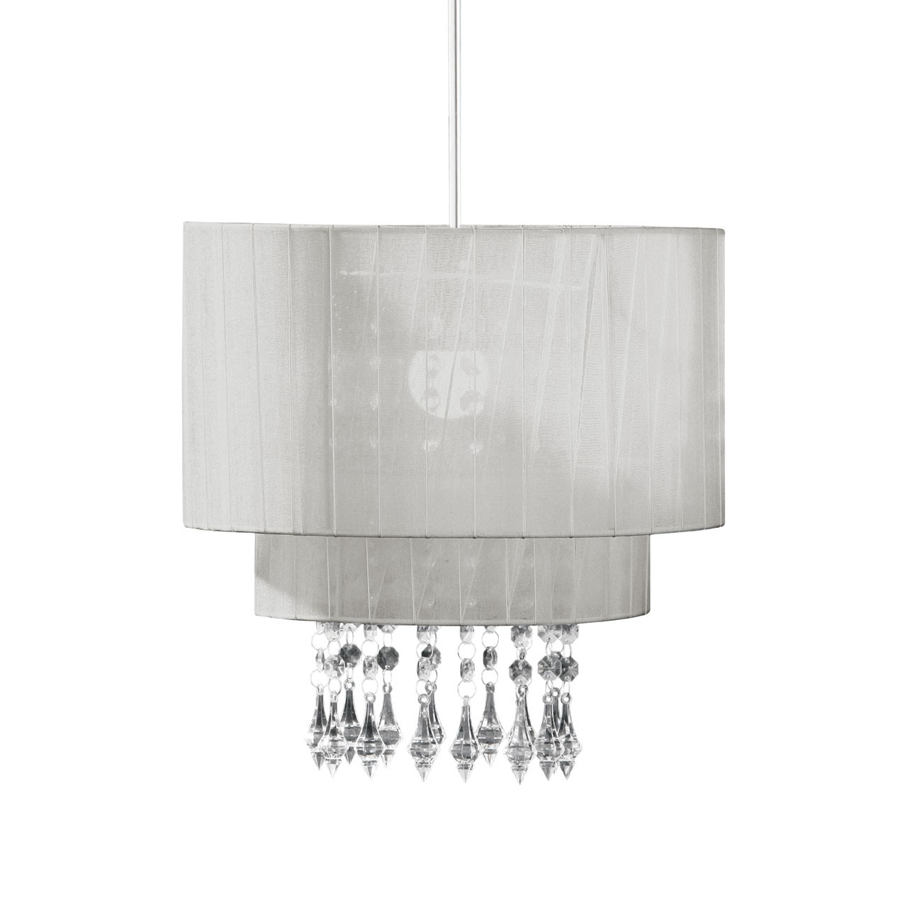 Prime Furnishing Riband Voile Beaded Pendant Shade - Silver