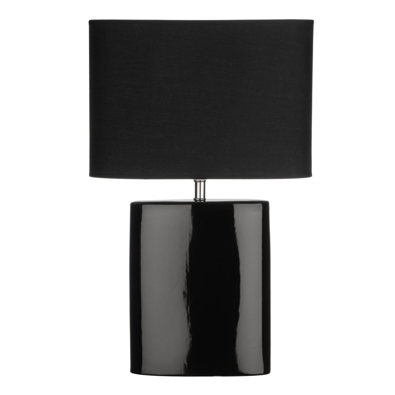 2 x Ellipse Table Lamp, Black Ceramic Base, Black Fabric Shade