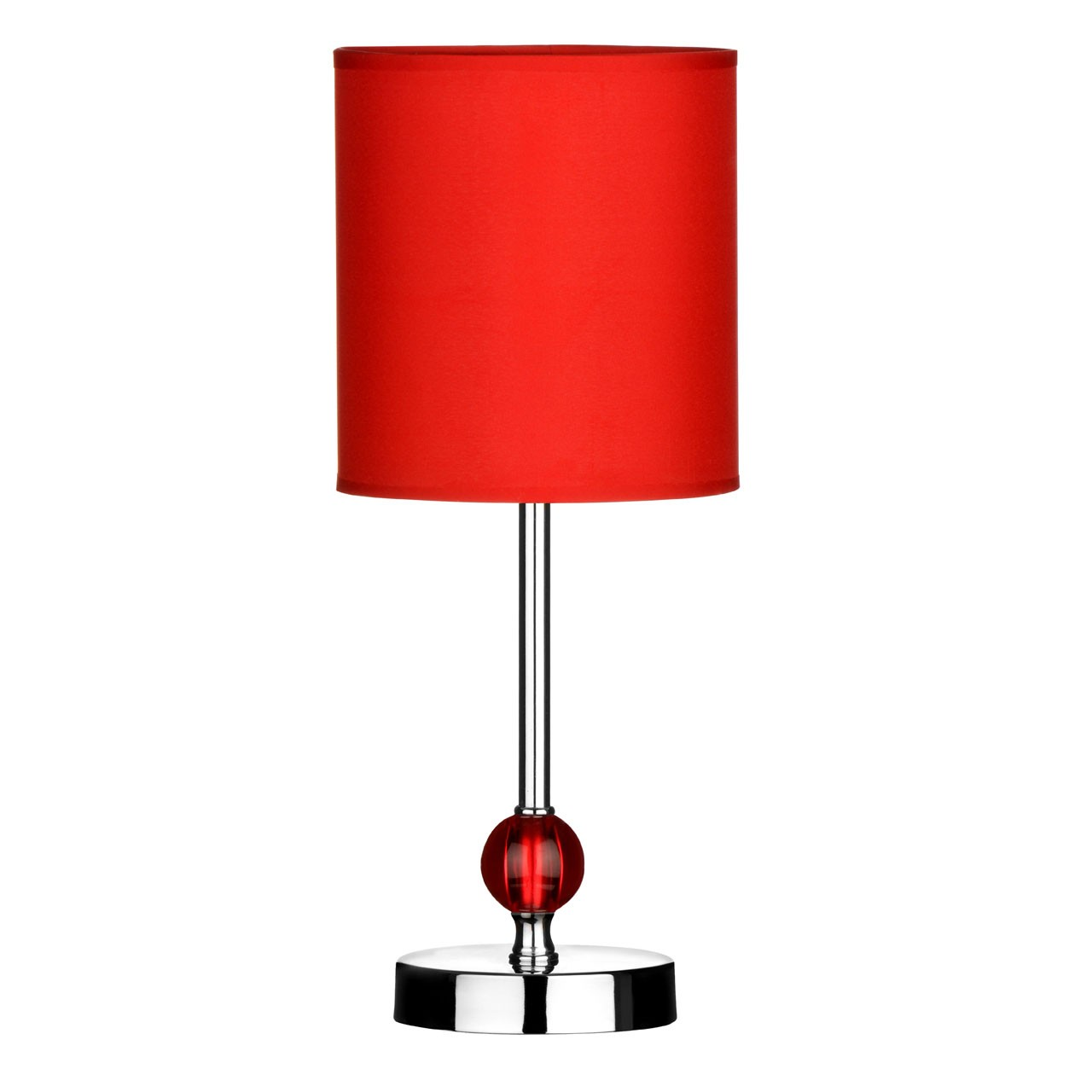 Chrome Stem Table Lamp with Acrylic Ball and Fabric Shade - Red