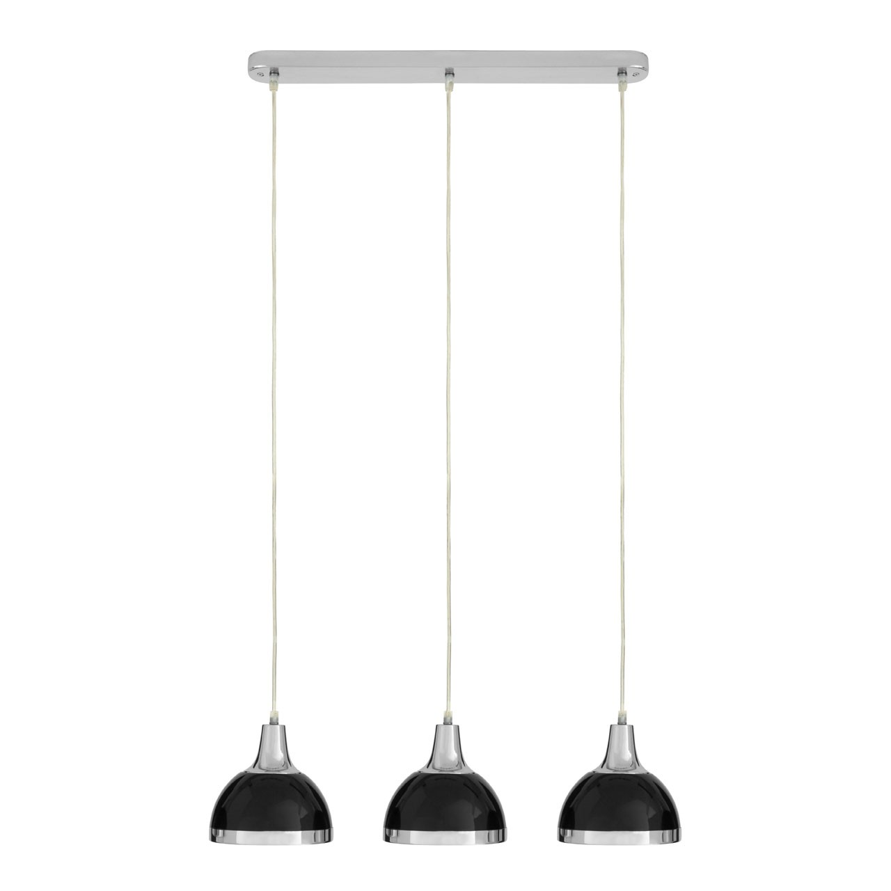 Prime Furnishing 3 Pendant Light, Black Shade & Chrome Body