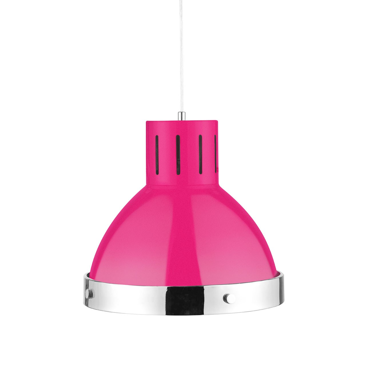 Chrome Ceiling Pendant,60 W - Hot Pink
