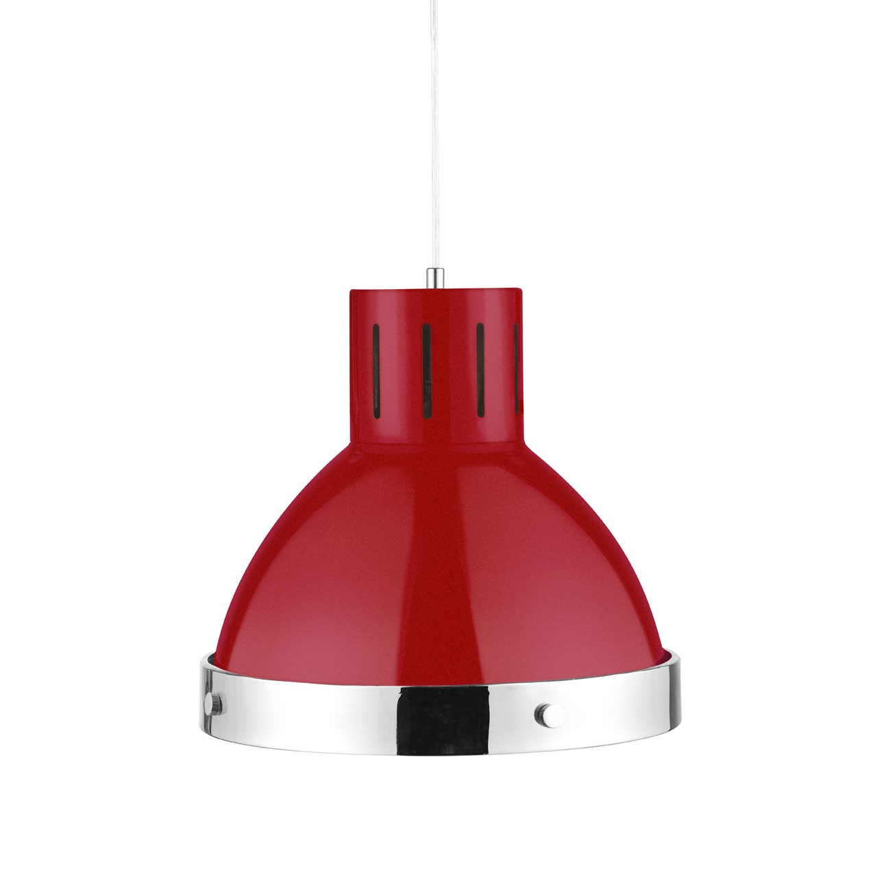 Chrome Ceiling Pendant, 60 W - Red