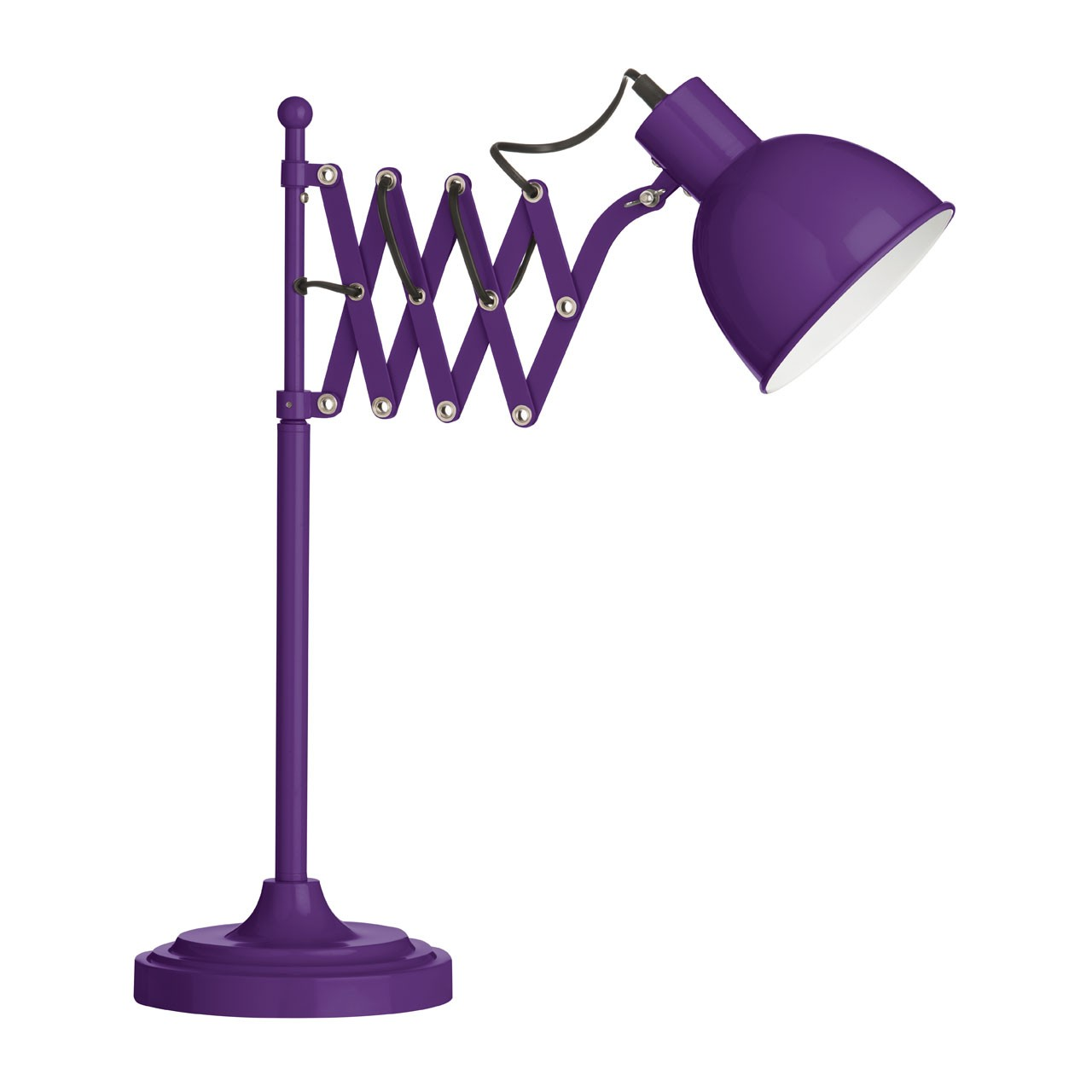 E27 Edison Screw 40 W Extendable Metal Table Lamp - Purple