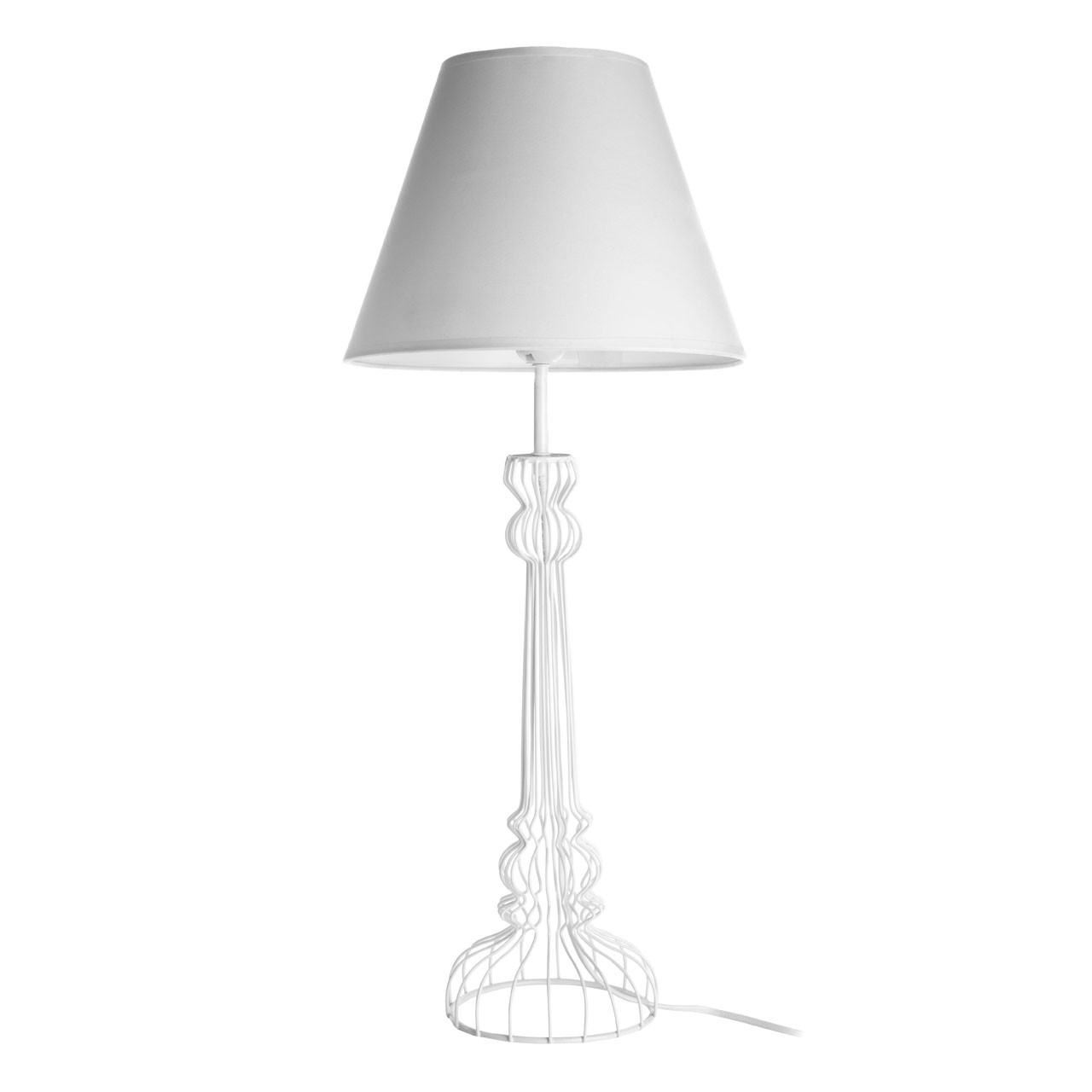 Prime Furnishing Chicago Table Lamp, Metal Wire Base - White