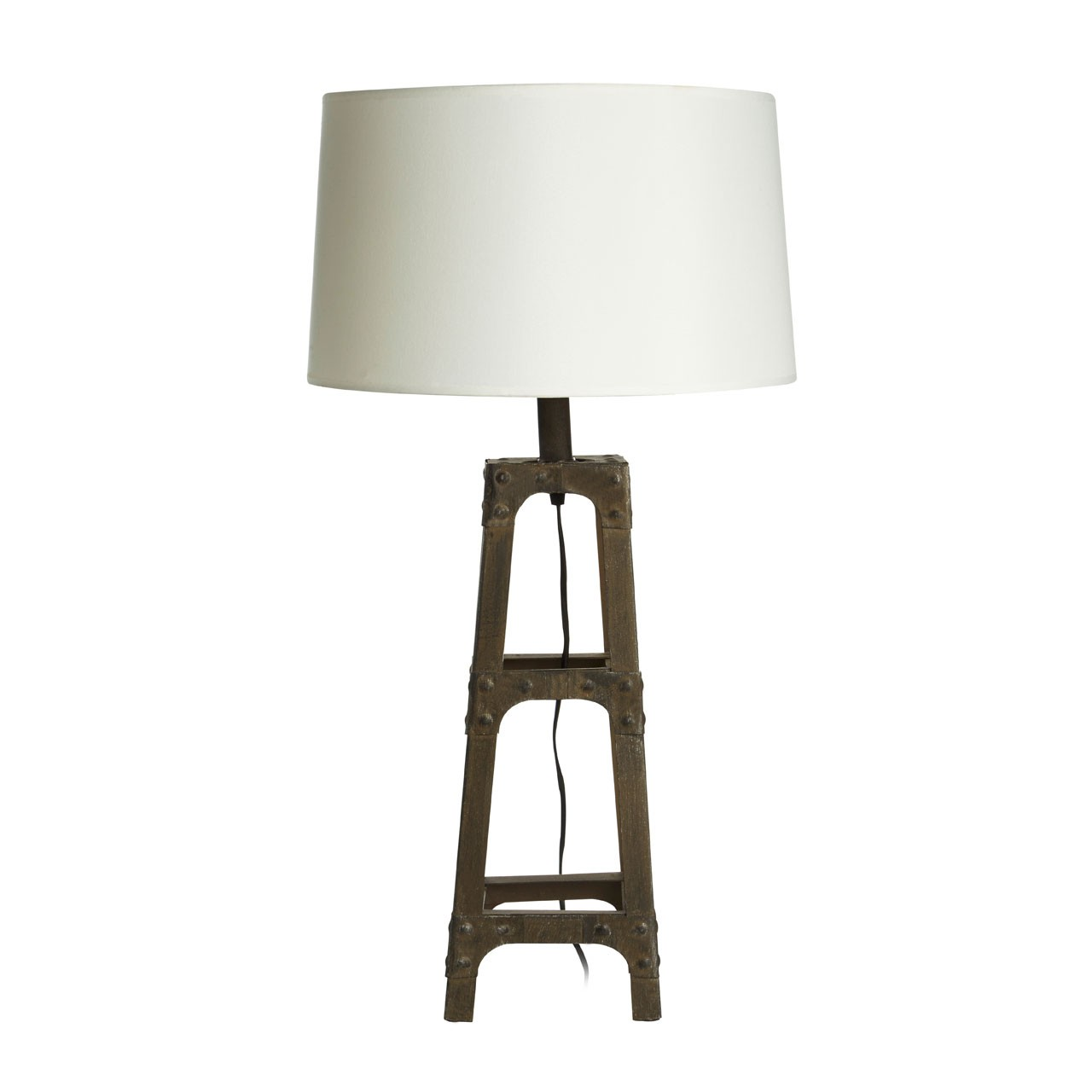 Prime Furnishing Table Lamp with Metal Scaffold - White