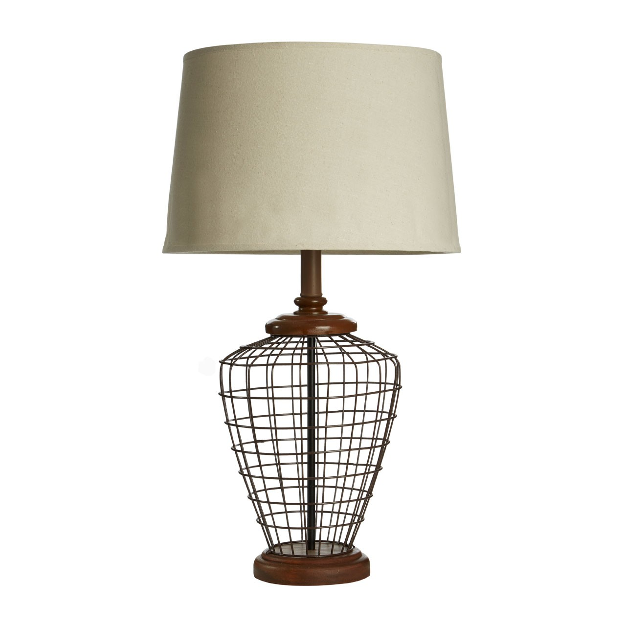 Prime Furnishing Maine Table Lamp, Metal/Wooden Base, Natural