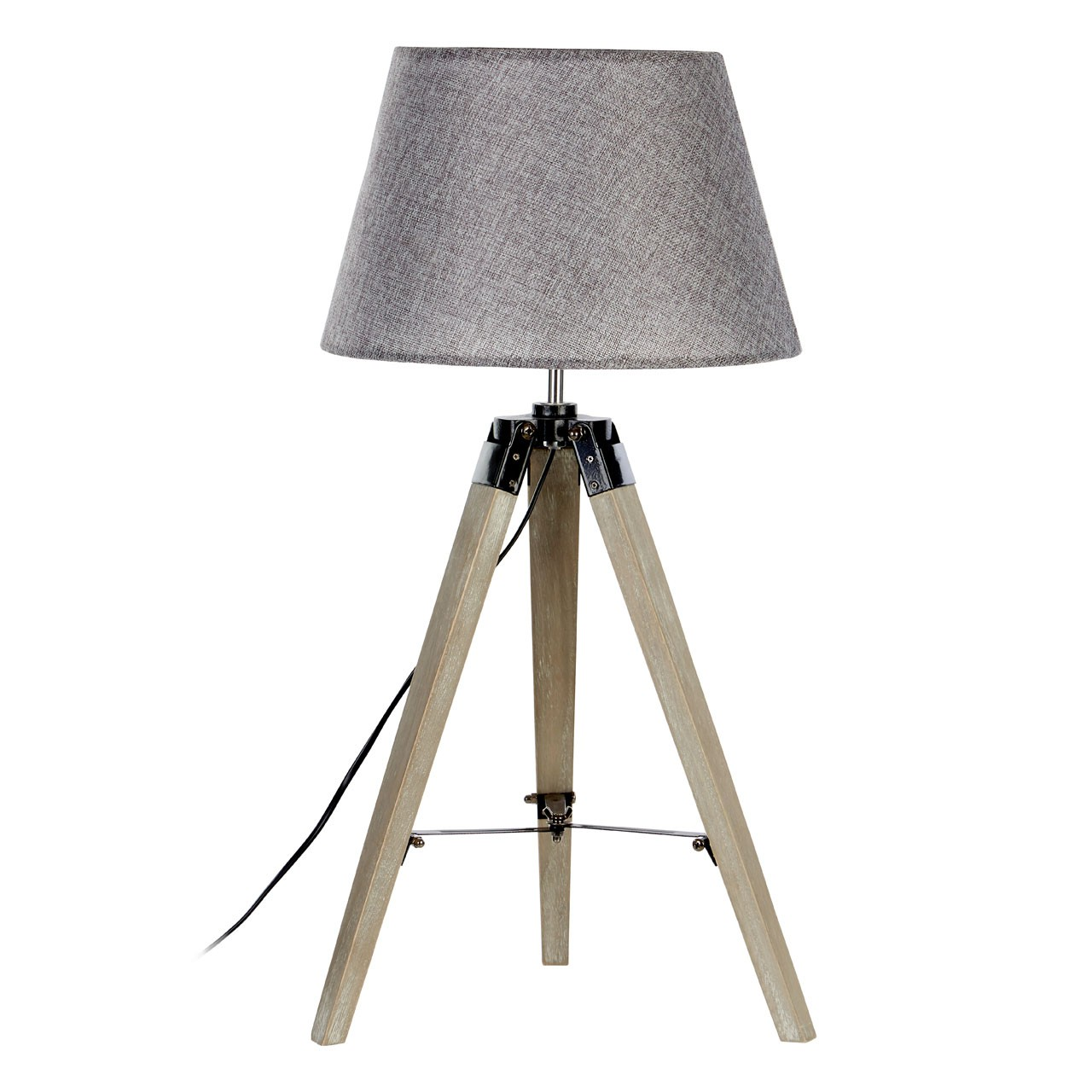 Prime Furnishing Harper Grey Wood Table Lamp, Tripod, Grey Shade