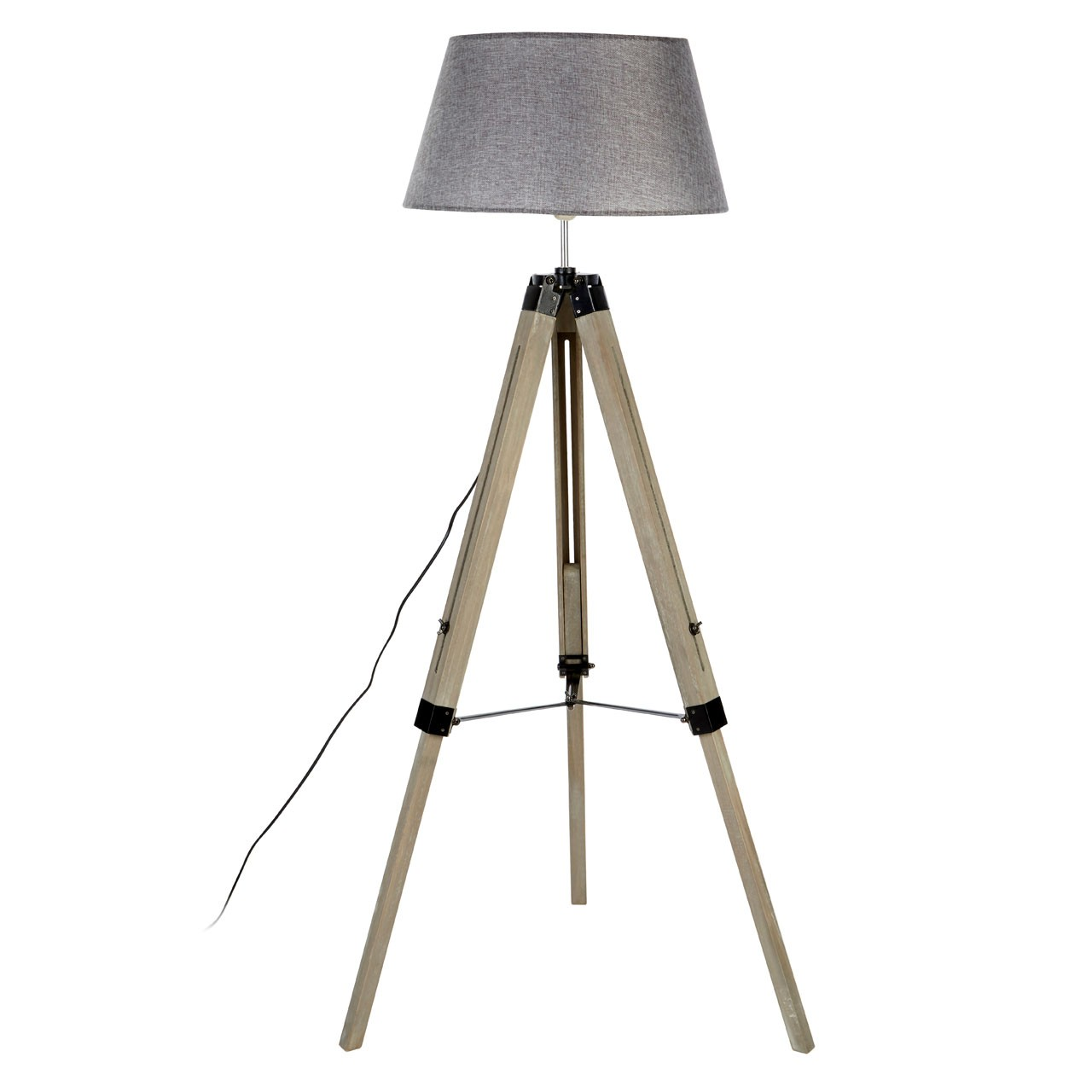 Prime Furnishing Harper Grey Wood Floor Lamp, Tripod, Grey Shade