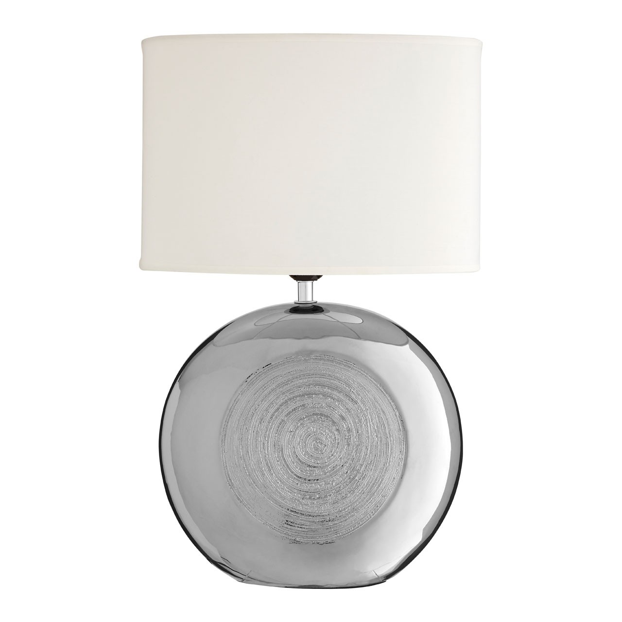 Prime Furnishing Holly Silver Scratch Detail Table Lamp - White