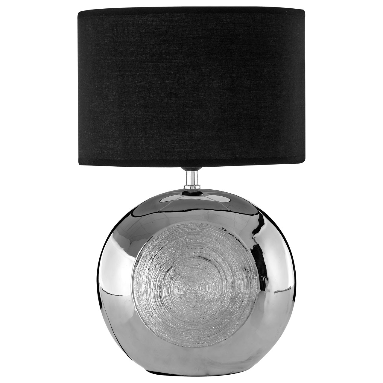 Prime Furnishing Holly Silver Scratch Detail Table Lamp- Black