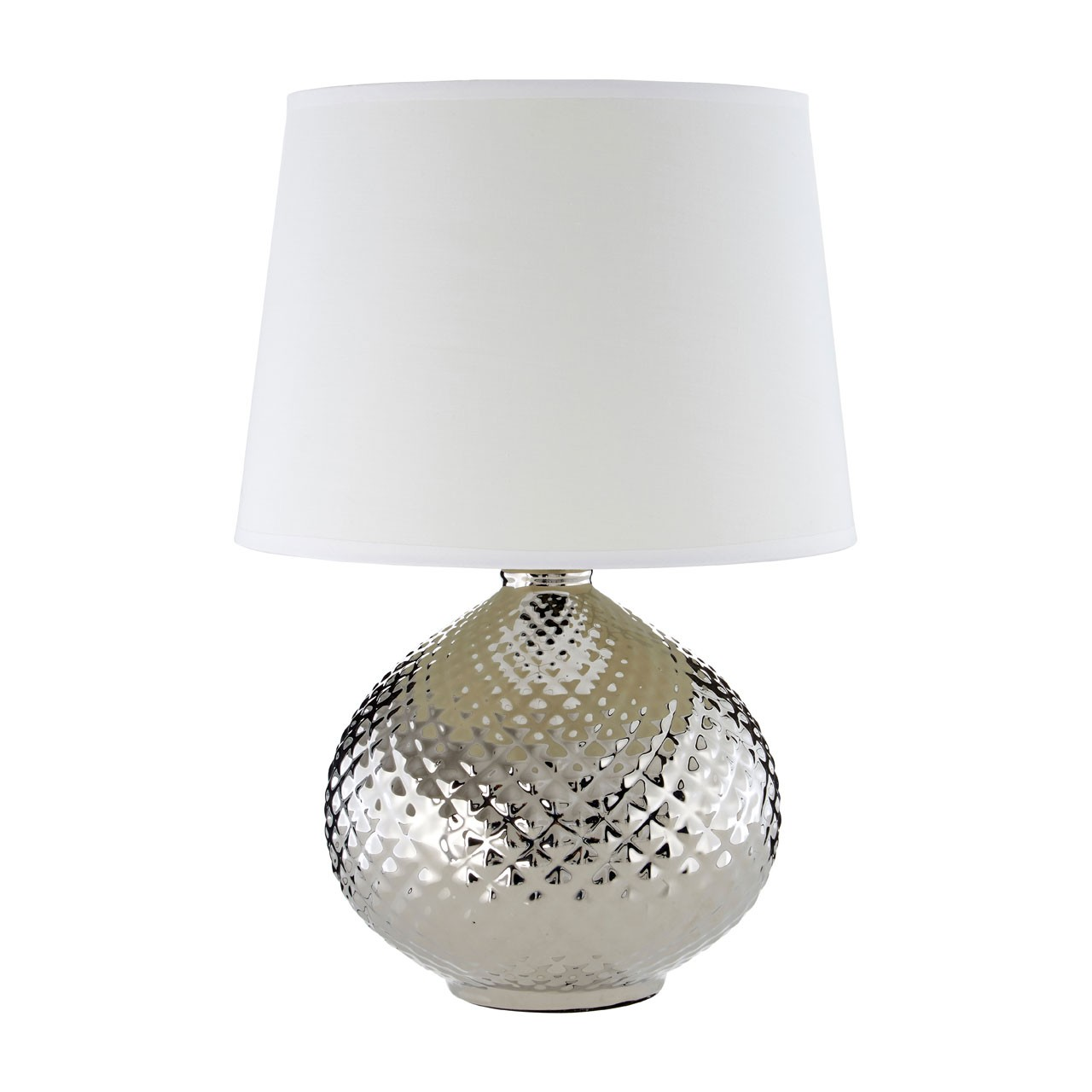 Prime Furnishing Hetty Table Lamp, Silver Ceramic - White Shade