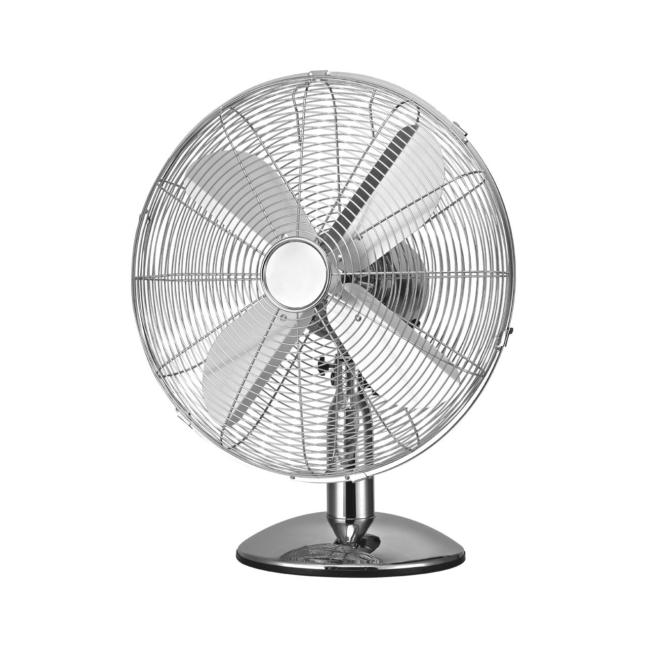 Desk Fan with 3 Speeds/ Oscillation, Chrome/ Silver