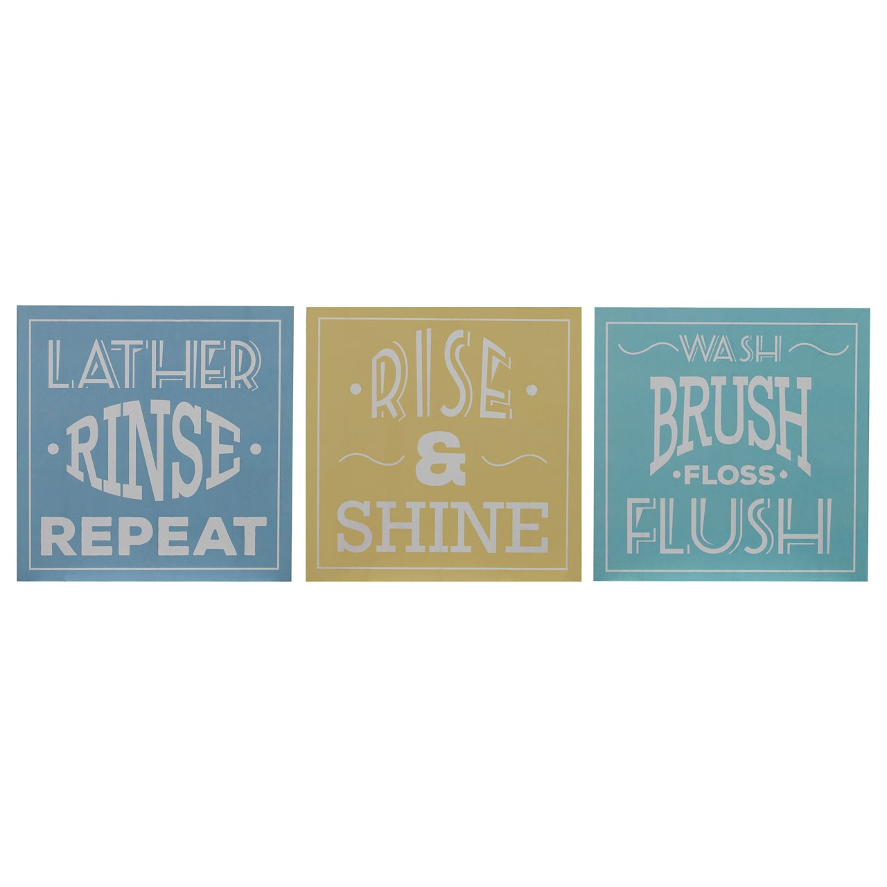 Prime Furnishing Bathroom Wall Plaques - Multi-Colour - Set of 3