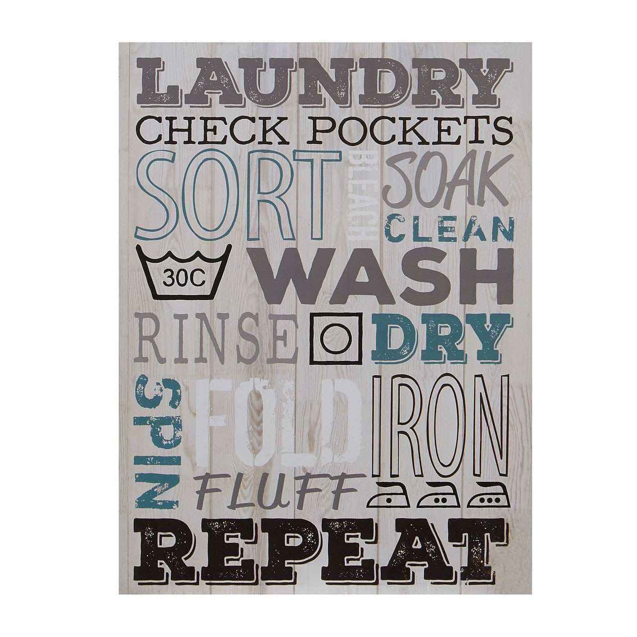 Prime Furnishing Laundry Wall Plaque - Multi-Colour