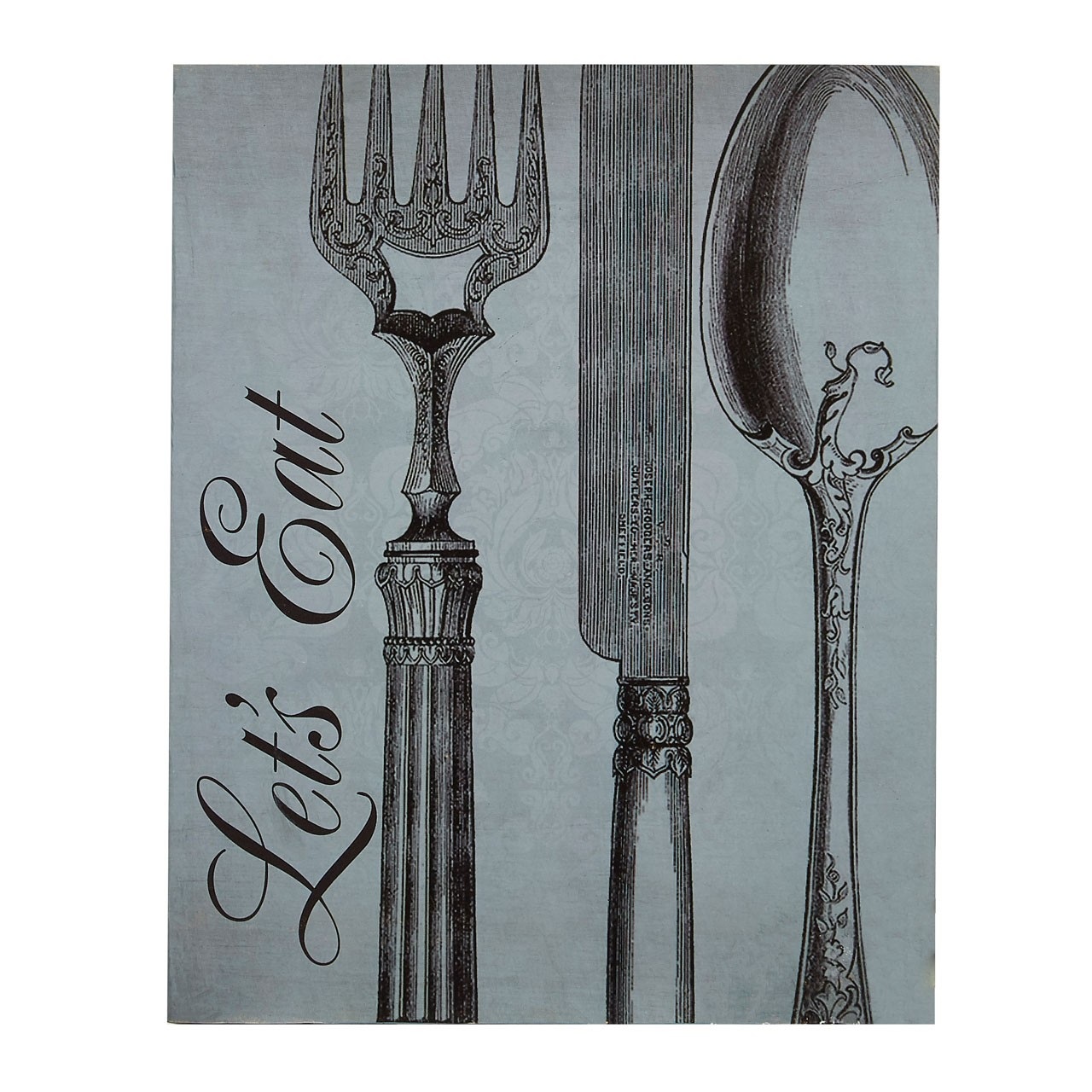 "Prime Furnishing ""Let's Eat"" Wall Plaque - Blue - Click Image to Close"