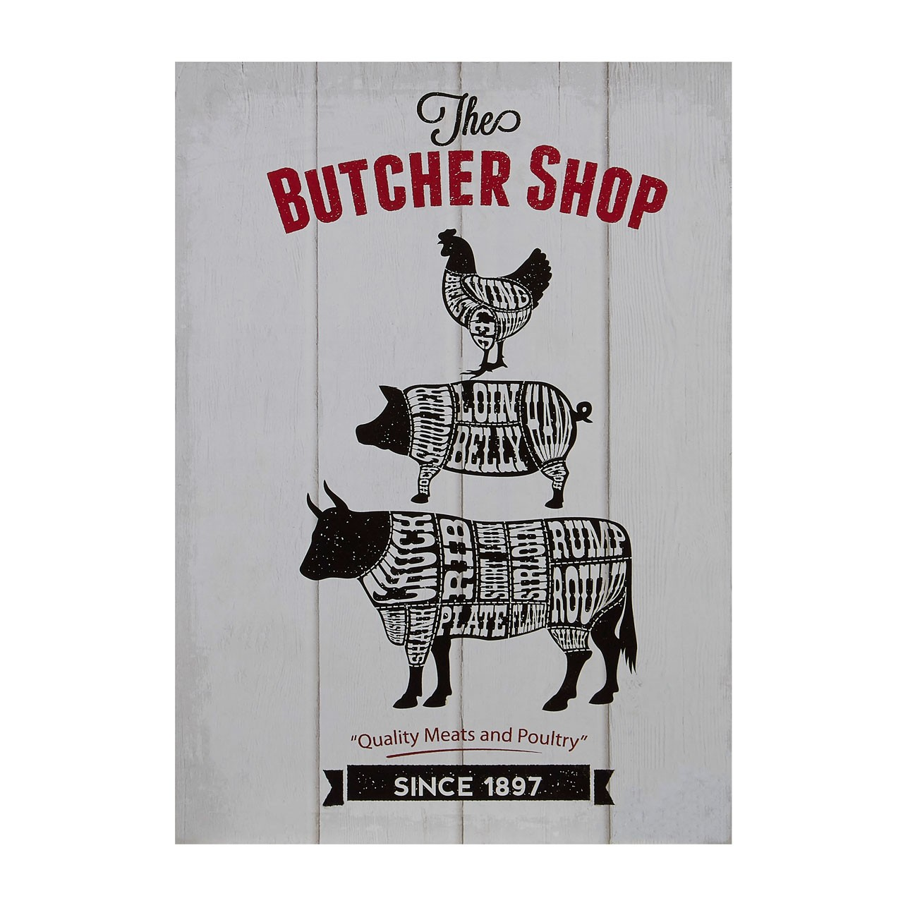 "Prime Furnishing ""Butcher Shop"" Wall Plaque - Grey"