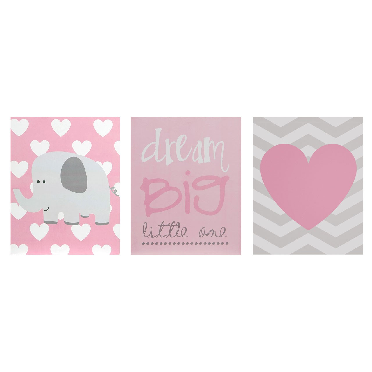 "Prime Furnishing ""Kid's Dream Big"" Wall Plaque - Pink - Set of 3"