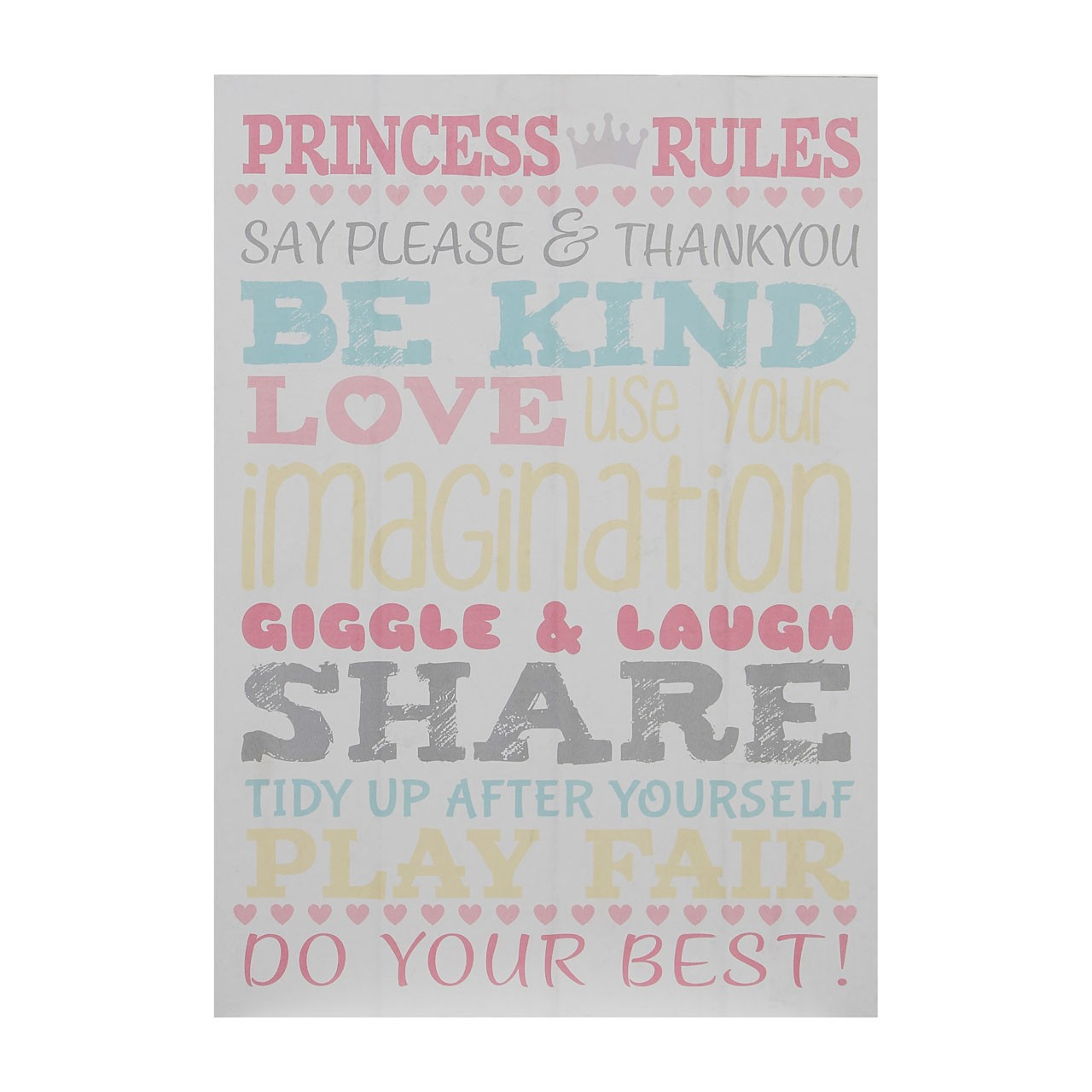 "Prime Furnishing ""Kid's Princess Rules"" Wall Plaque, Multi-Colou"