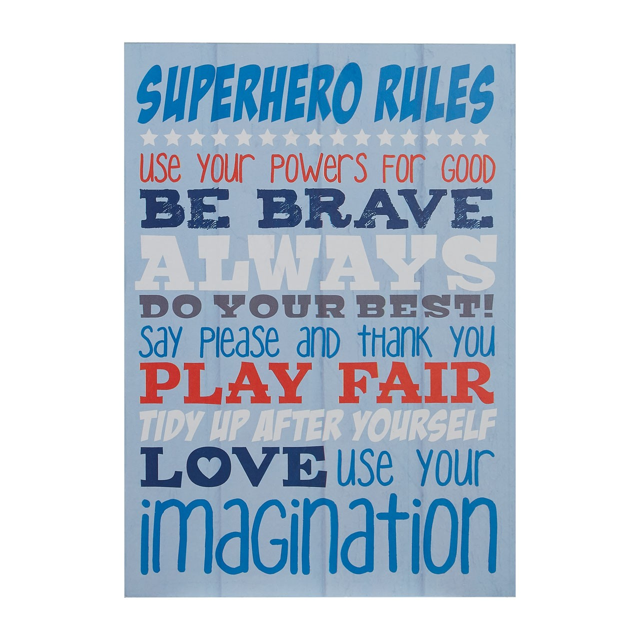 "Prime Furnishing ""Kid's Super Hero Rules"" Wall Plaque - Blue"