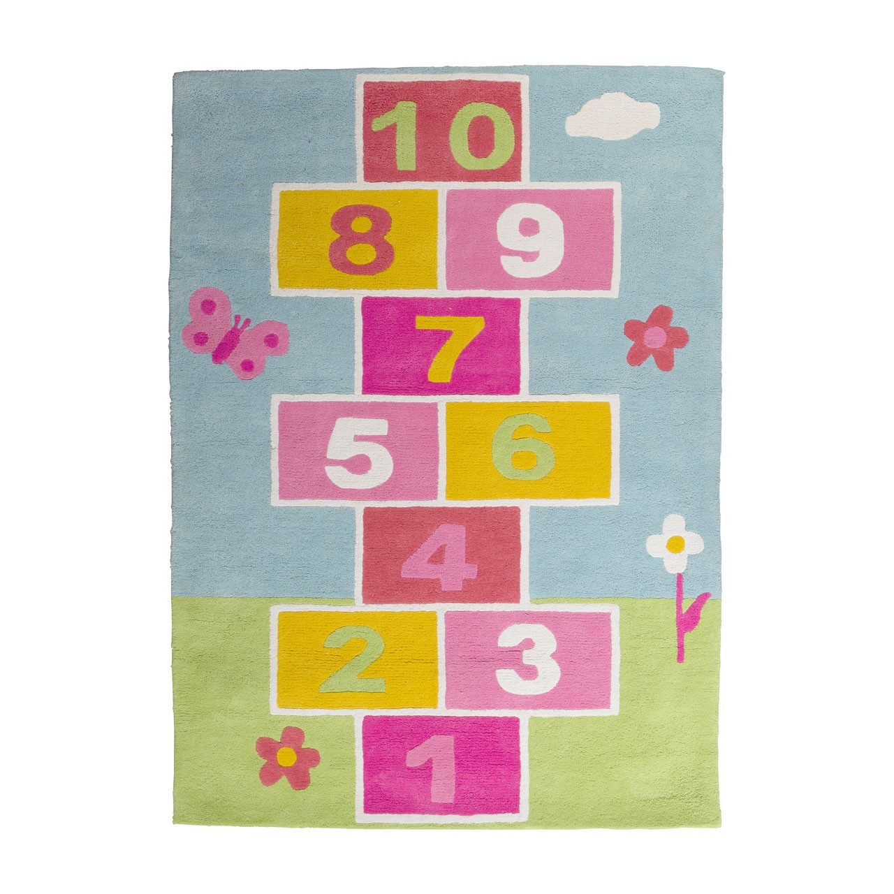 Prime Furnishing Kids Hopscotch Rug, Cotton - Multi Colour