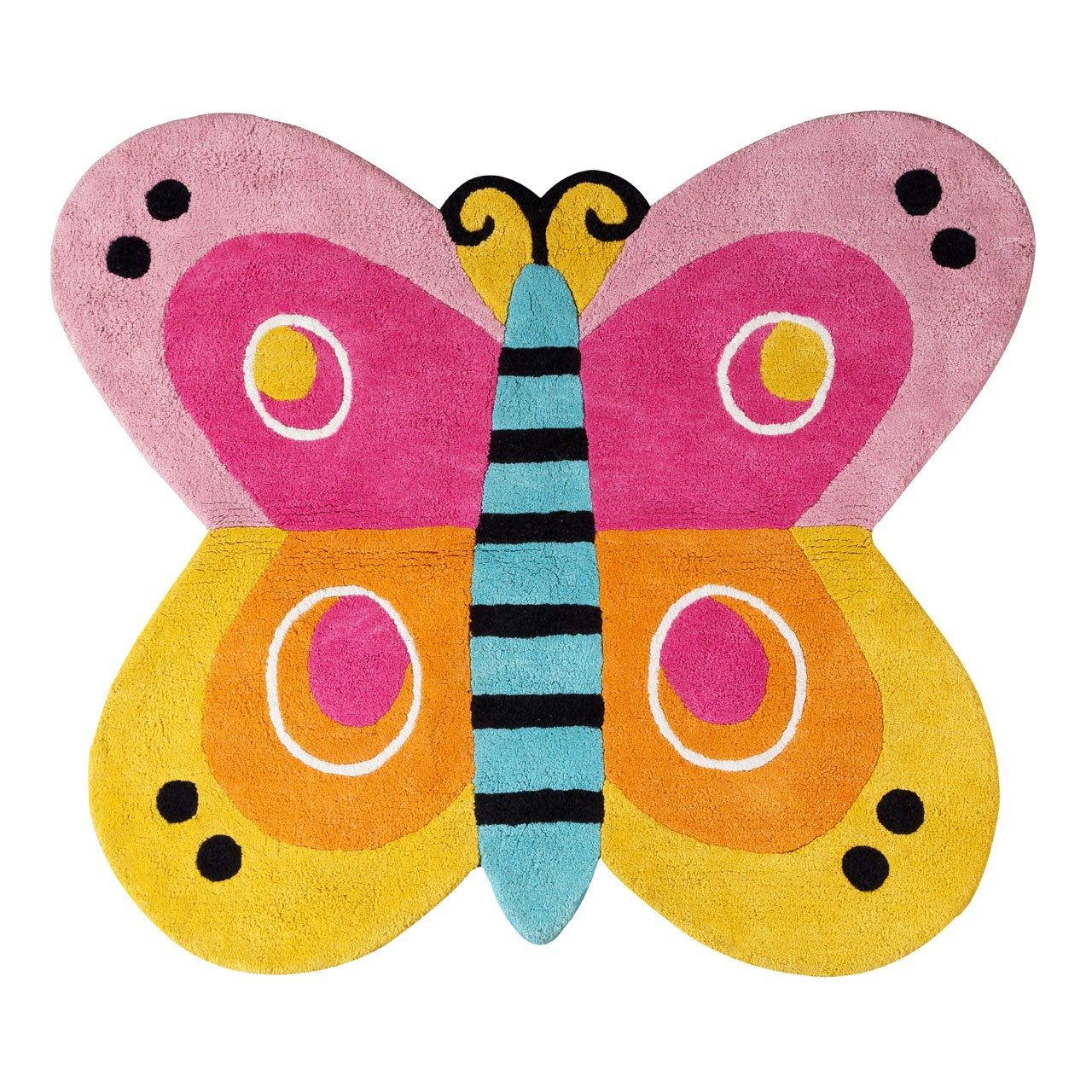 Prime Furnishing Kids Butterfly Rug, Cotton - Multi Colour