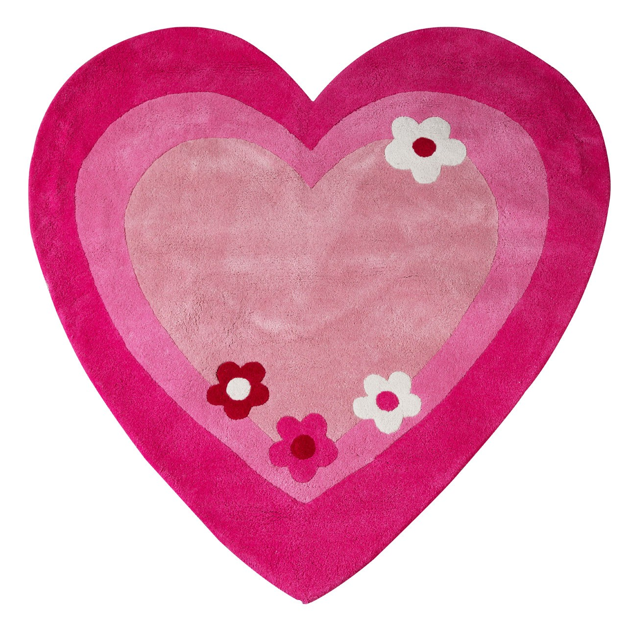Prime Furnishing Kids Love Heart Rug, Cotton - Pink