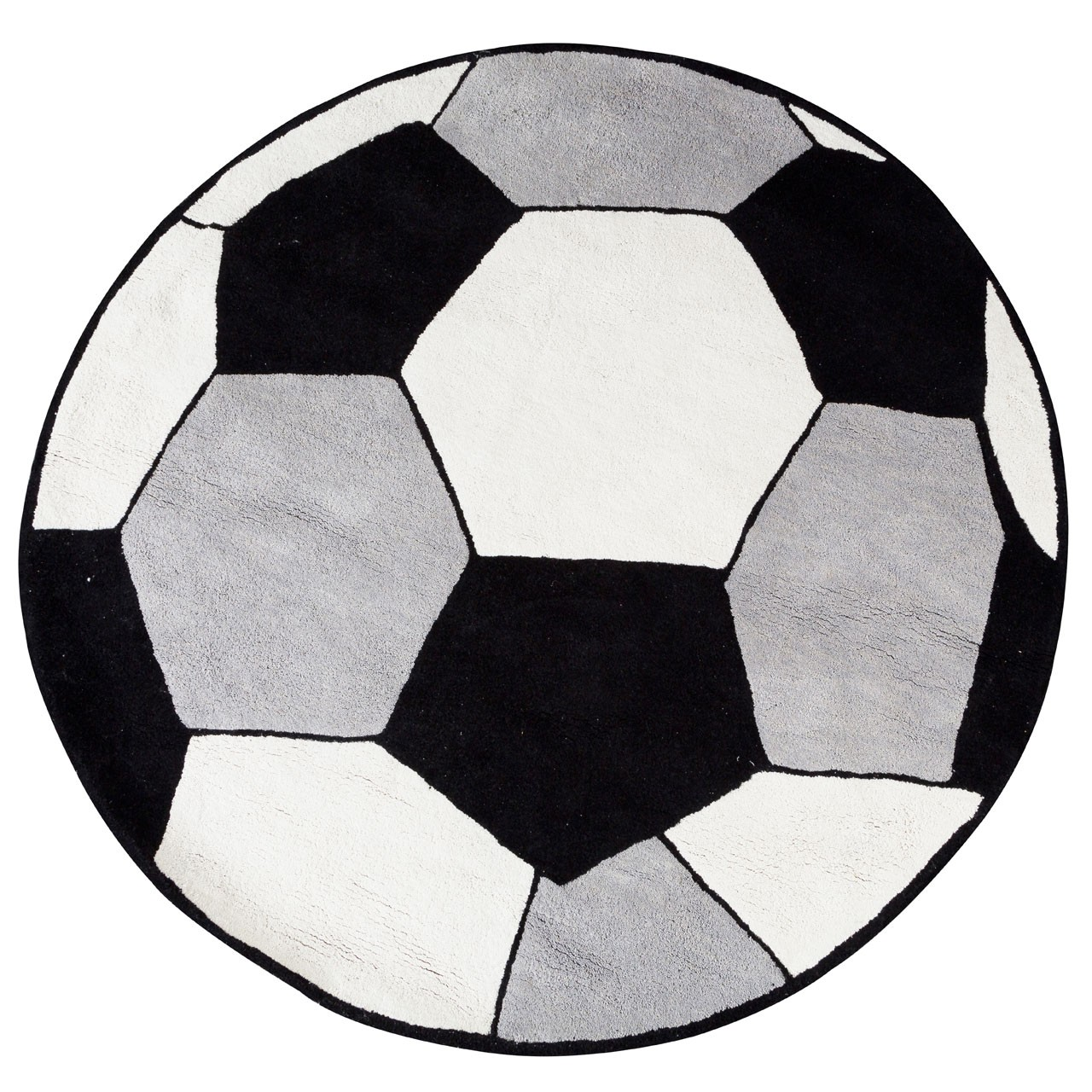 Prime Furnishing Kids Football Rug, Cotton - Black