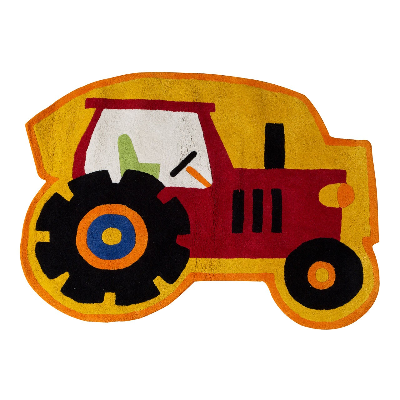 Prime Furnishing Kids Tractor Rug, Cotton - Red