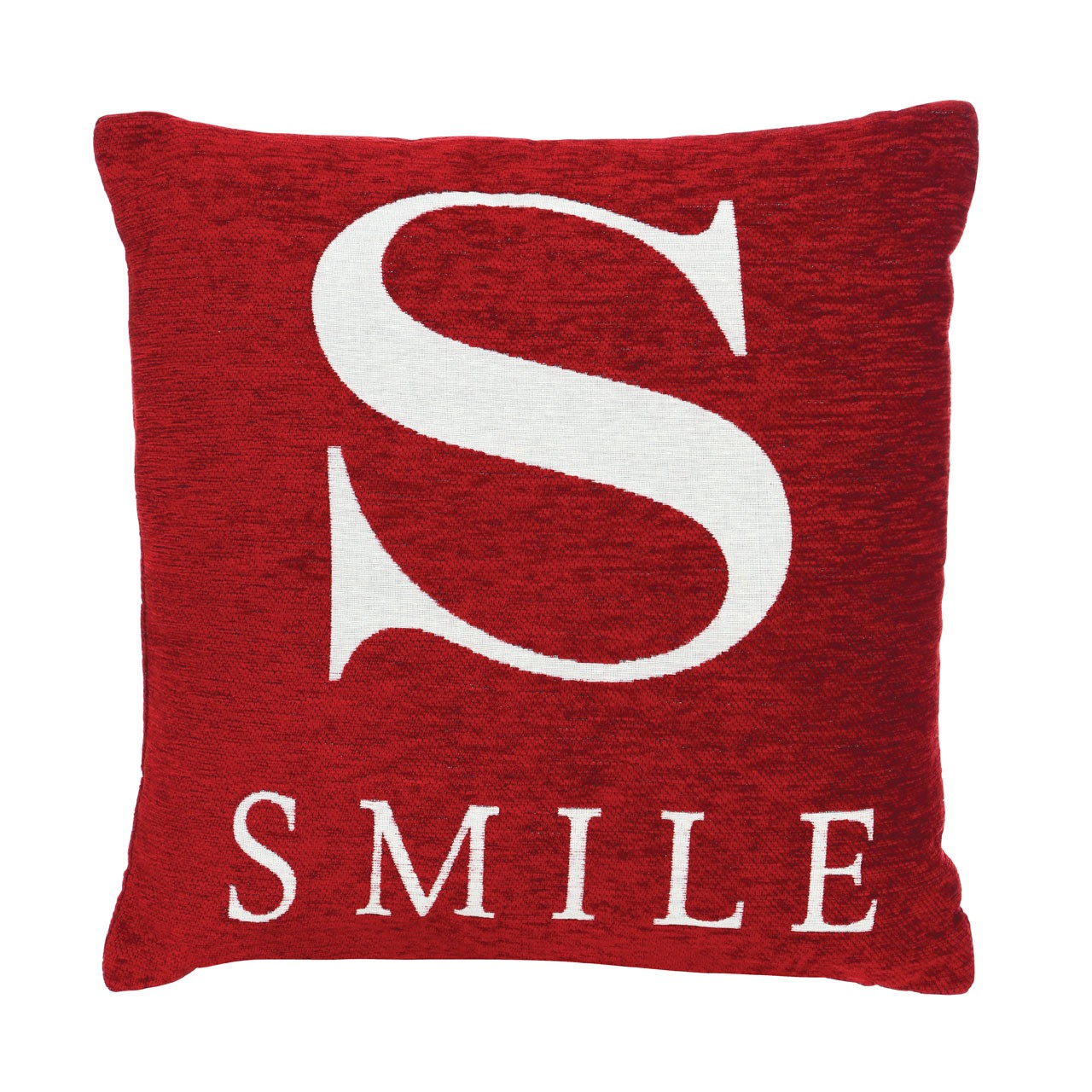"Prime Furnishing ""Smile"" Chenille Cushion, Red"