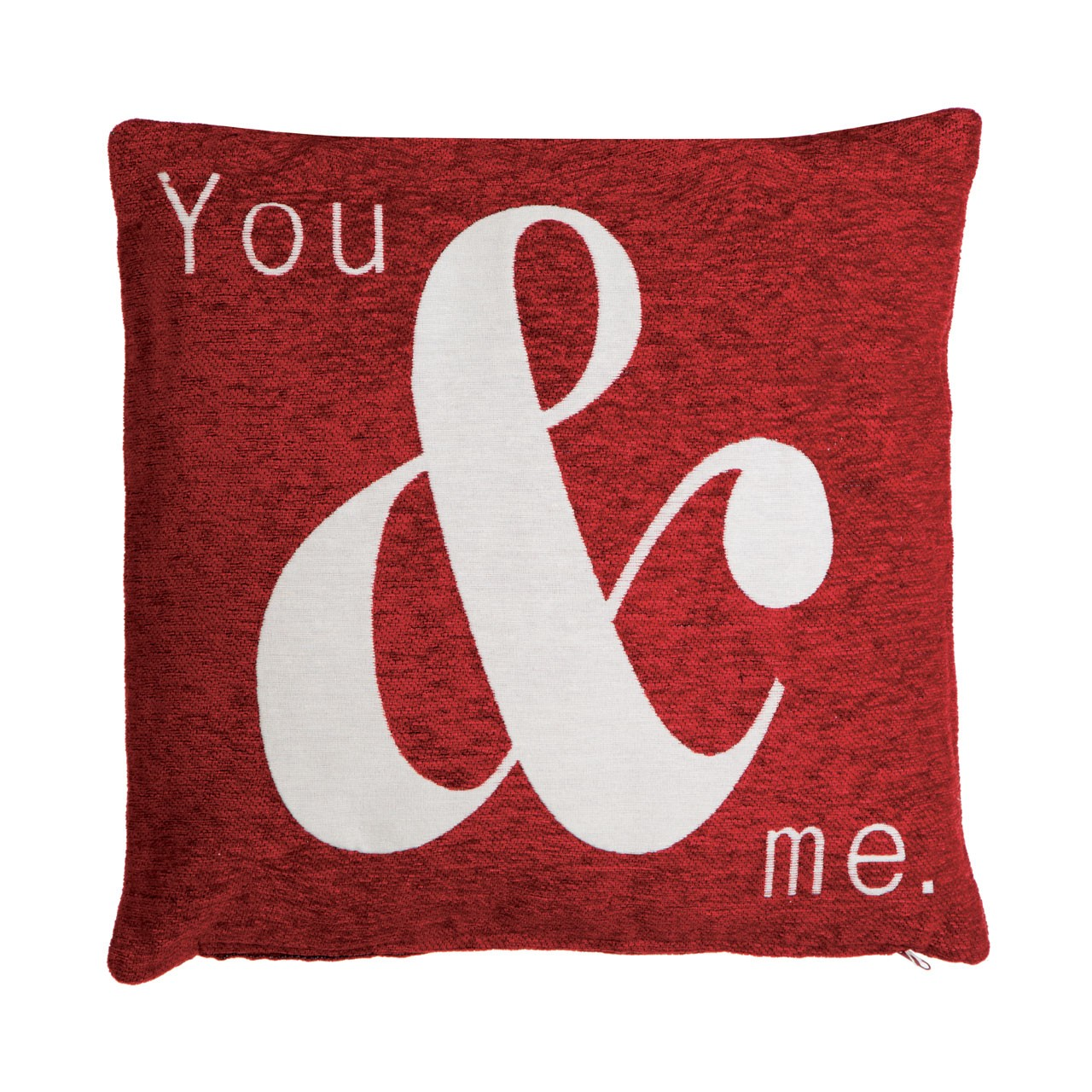 "Prime Furnishing ""You and Me"" Chenille Cushion, Red"