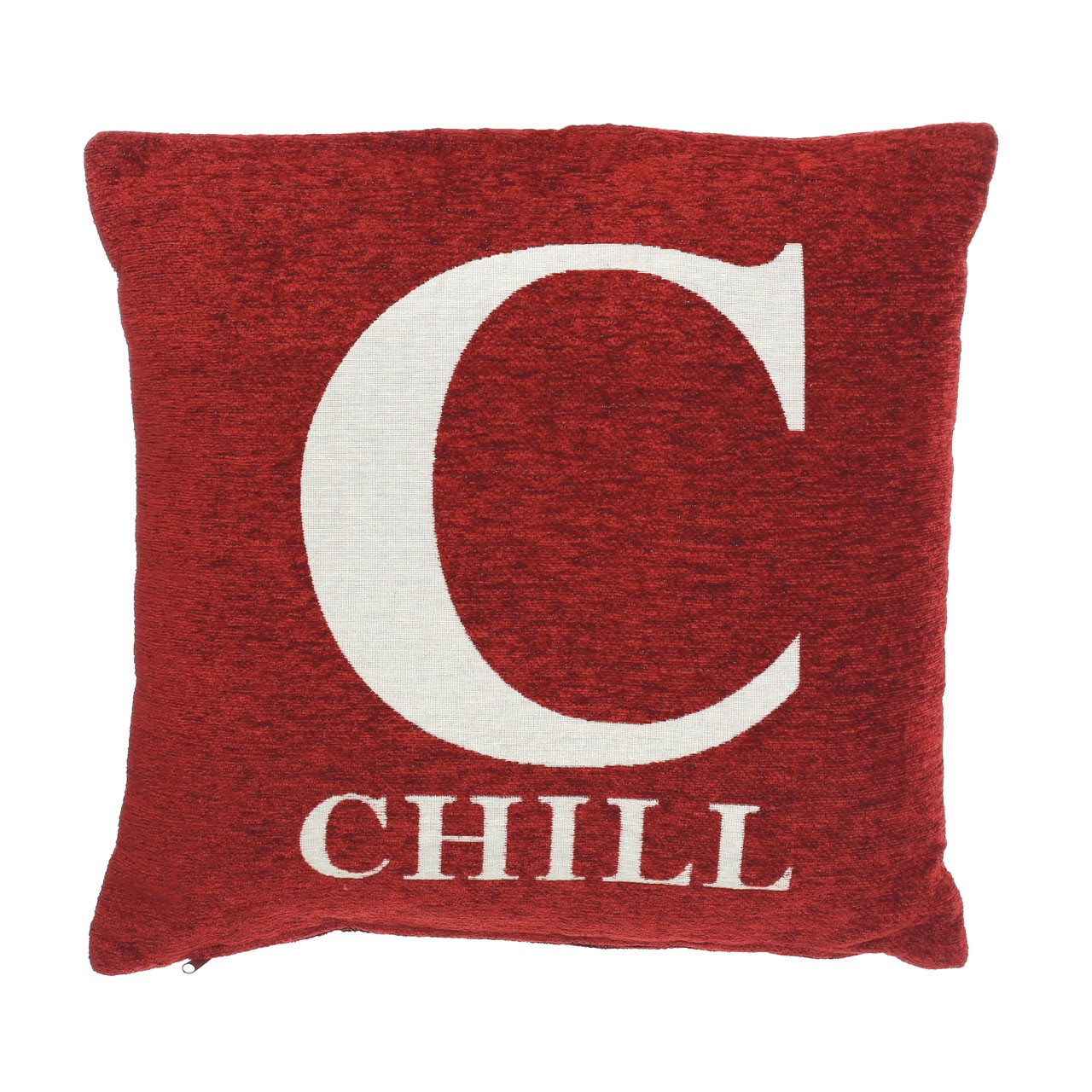 "Prime Furnishing ""Chill"" Chenille Cushion, Red"