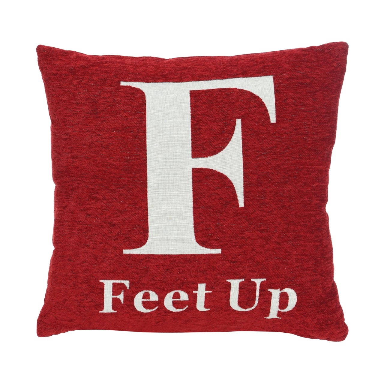 "Prime Furnishing ""Feet Up"" Chenille Cushion - Red"