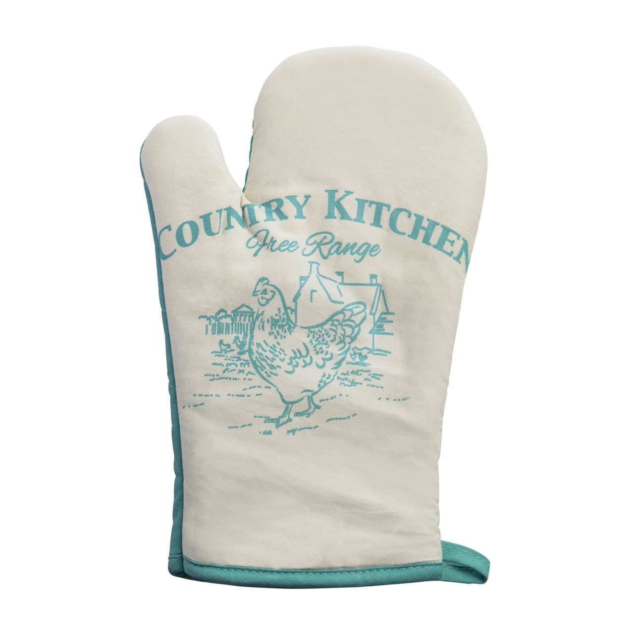 Prime Furnishing Country Kitchen Single Oven Glove - White/Teal