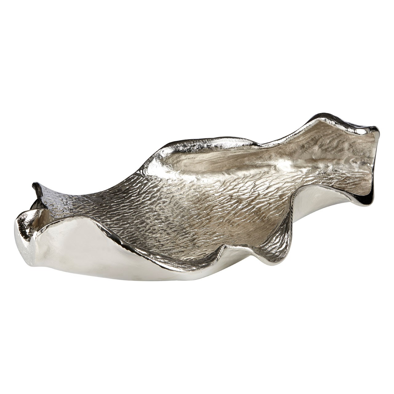 Prime Furnishing Hampstead Large Leaf Sculpture - Nickel Finish