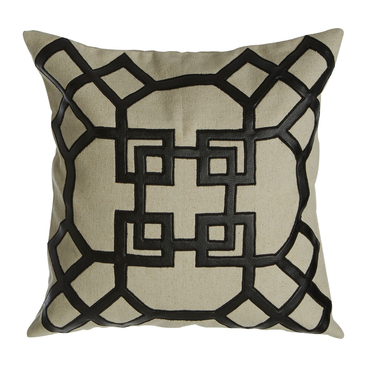 Prime Furnishing Hampstead Leather Effect Cushion, Natural/Black